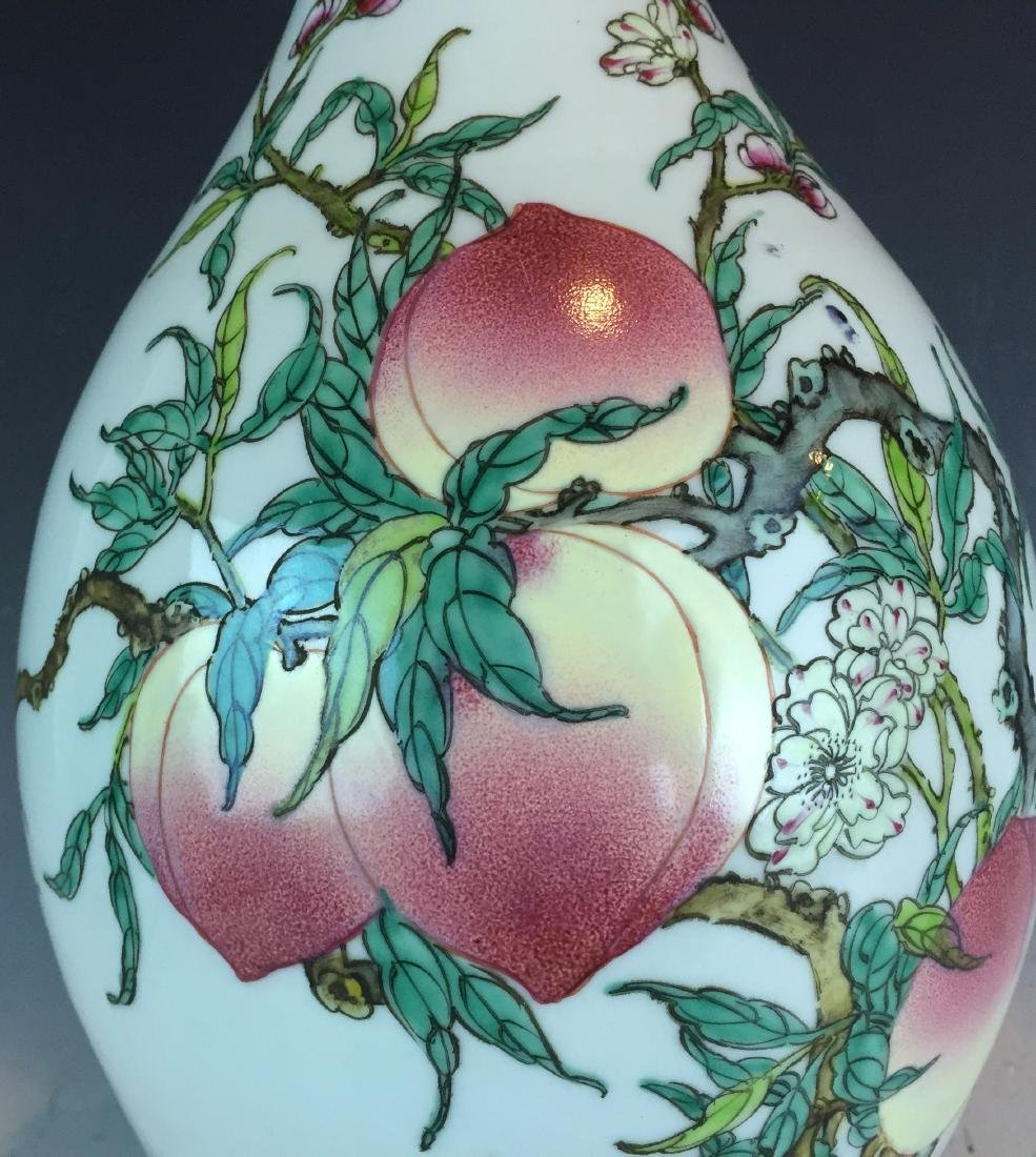 Porcelain Famille Rose Vase with Peach Design and - 2