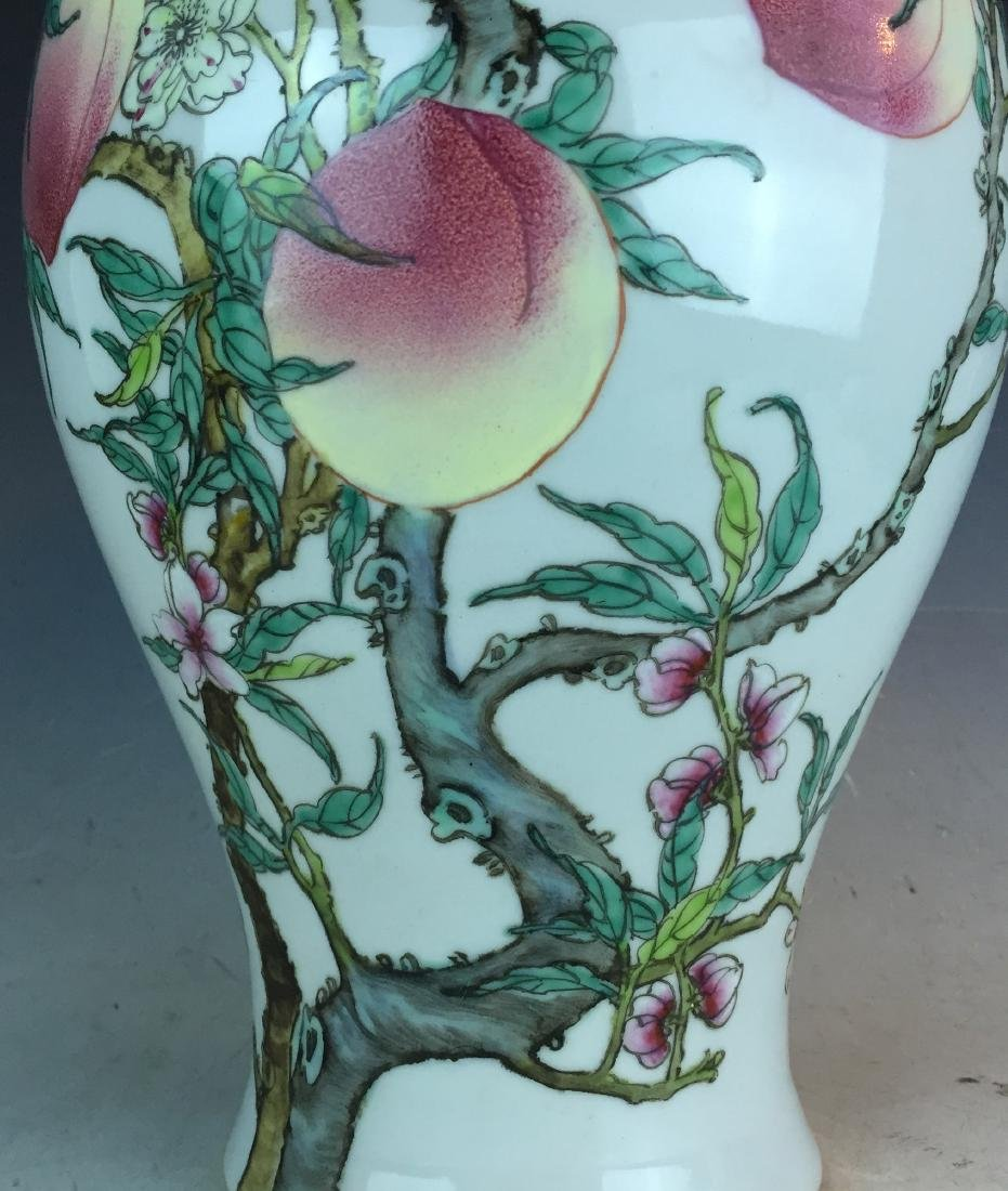 Porcelain Famille Rose Vase with Peach Design and - 3