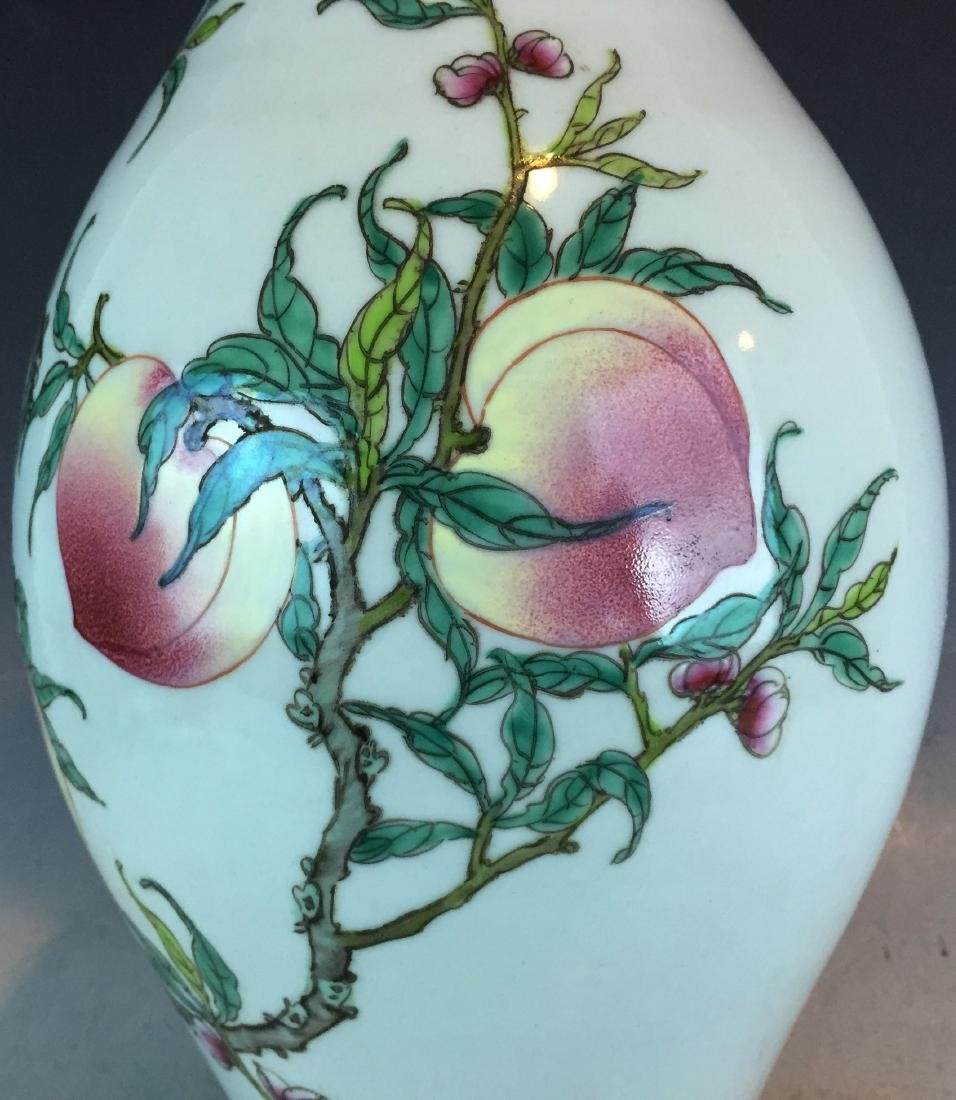 Porcelain Famille Rose Vase with Peach Design and - 4