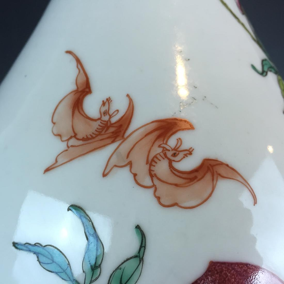 Porcelain Famille Rose Vase with Peach Design and - 5