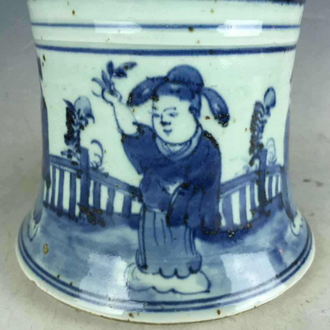 Chinese Blue and White Porcelain Vessel - People - 6