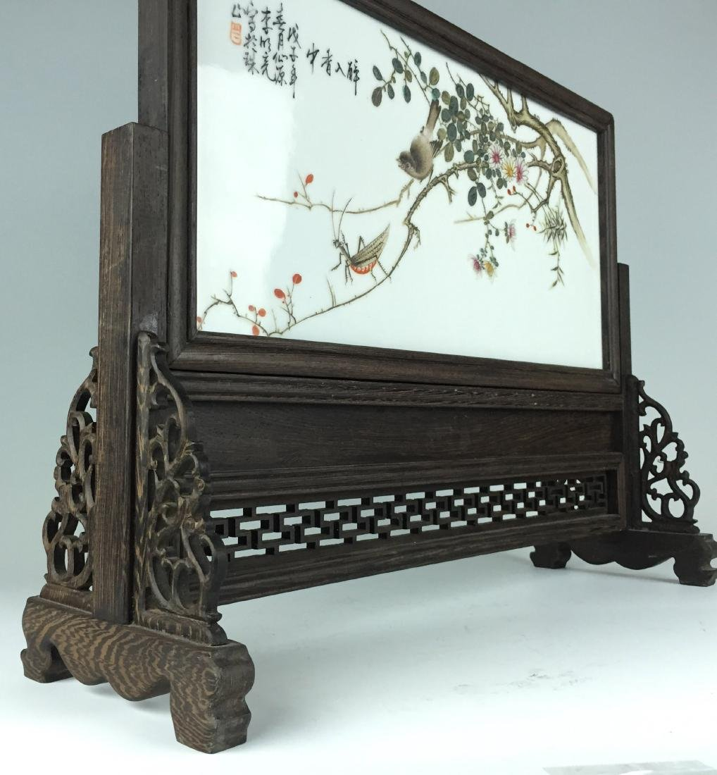 Chinese Porcelain Table Screen with Carved Wenge Wood - 6