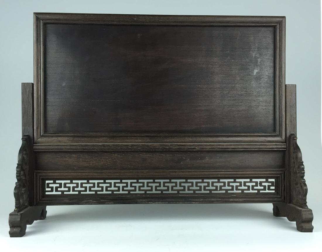 Chinese Porcelain Table Screen with Carved Wenge Wood - 7