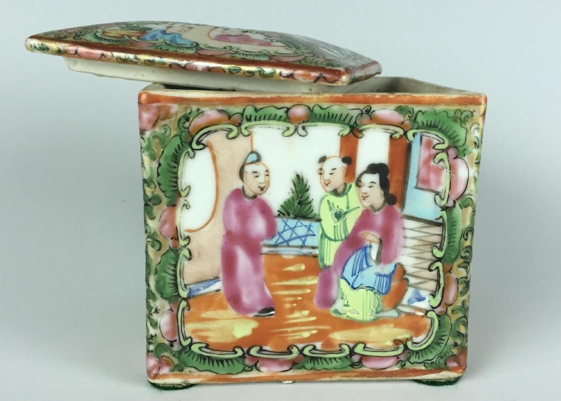 Canton Enamel Porcelain Box - People