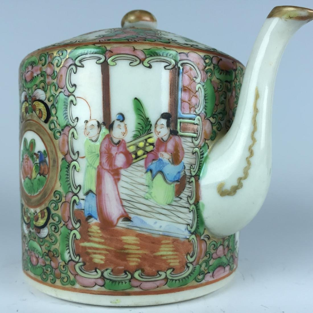 Chinese Canton Enamel Porcelain Tea Pot - People - 2