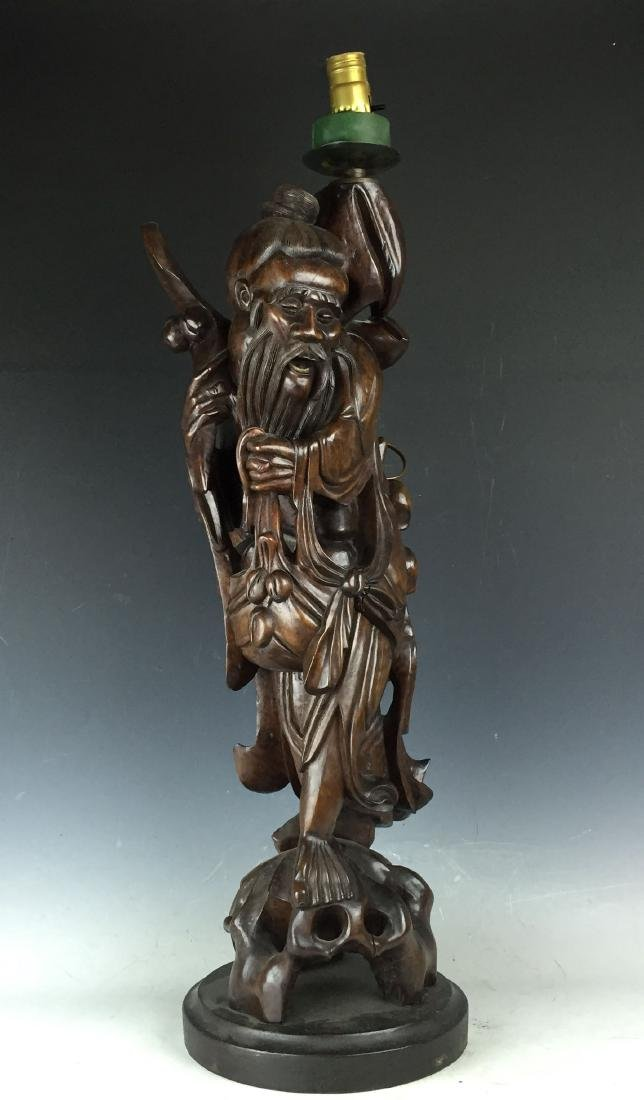 Chinese Carved Rosewood Lamp