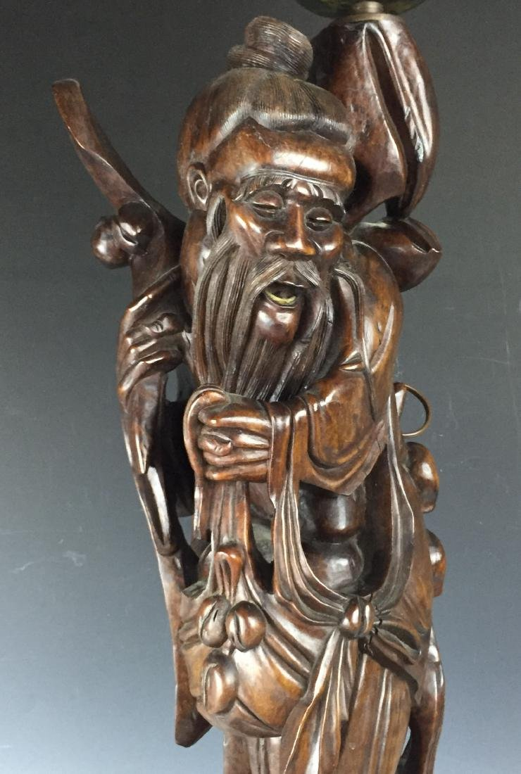 Chinese Carved Rosewood Lamp - 2