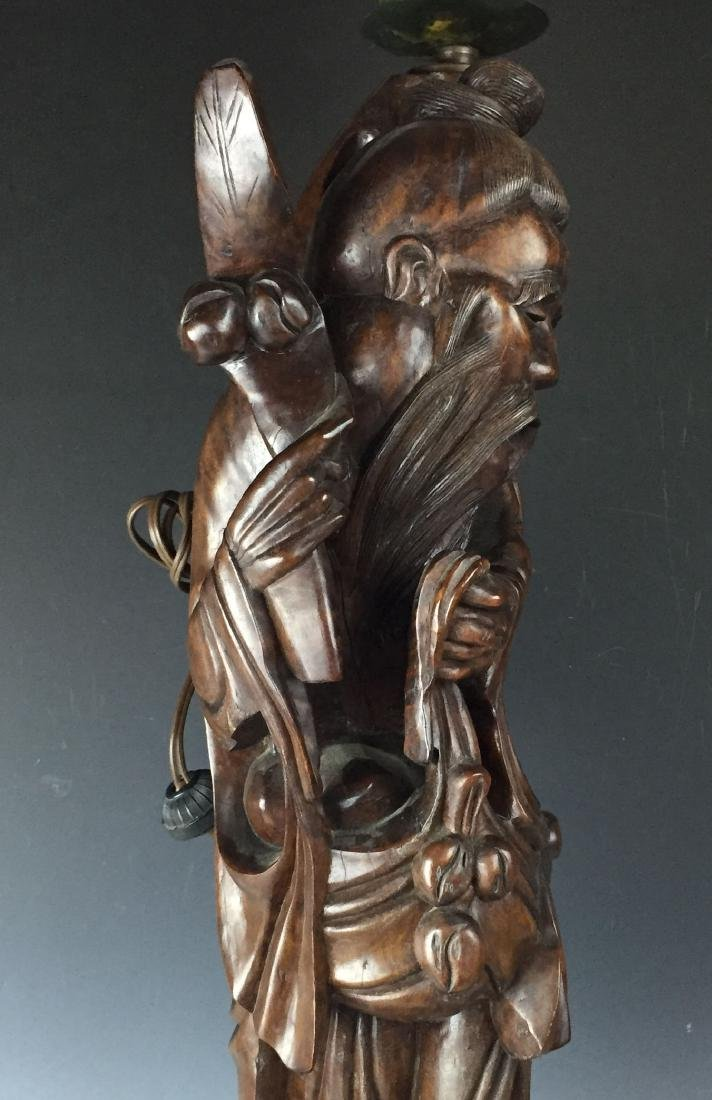 Chinese Carved Rosewood Lamp - 5