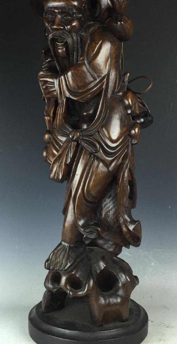 Chinese Carved Rosewood Lamp - 9
