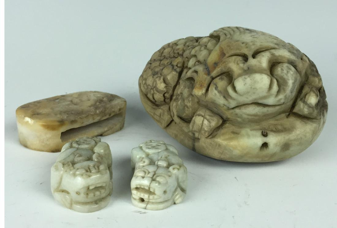 Lot Of 4 Chinese Carved Jade Statues