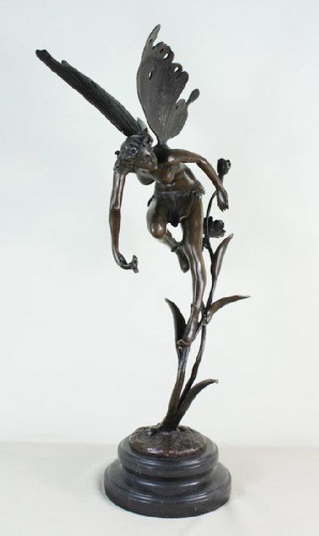 "19"" Large Carved Bronze Fairy - 3"