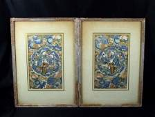 Pair Chinese 19th century embroidery panels