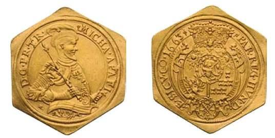 2313: Michael Apafi 1661 - 1690 10 Ducats, 1663