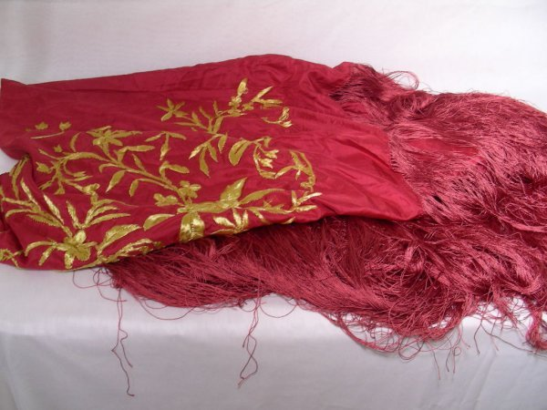 1: HAND MADE EMBROIDERED RED SILK PIANO SHAWL