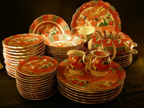 21: JAPANESE RED GREEN PEACOCK DINNERWARE 63 PCS