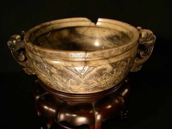26: LARGE ANTIQUE CHINESE ARCHAIC HARD STONE BOWL