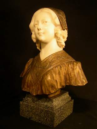 94: BRONZE MARBLE BUST YOUNG GIRL AFFORTUNATO GORY