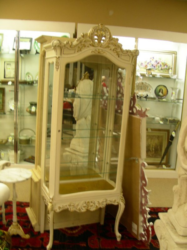 183: FRENCH STYLE WHITE GOLD CURIO CABINET