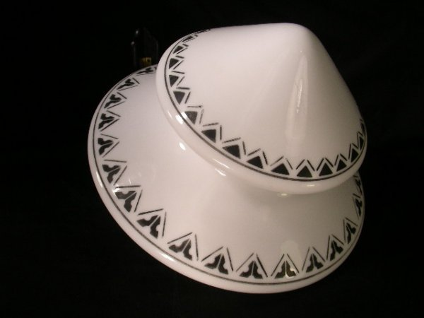 407: ART DECO STYLE BLACK AND WHITE CEILING FIXTURE GLO
