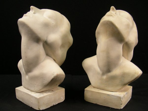 408: PAIR ART DECO STYLE WHITE PLASTER BUSTS WOMEN HEAD