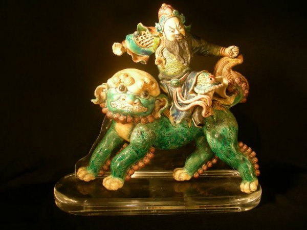 410: VINTAGE CHINESE FIGURAL GLAZED CLAY ROOF TILE