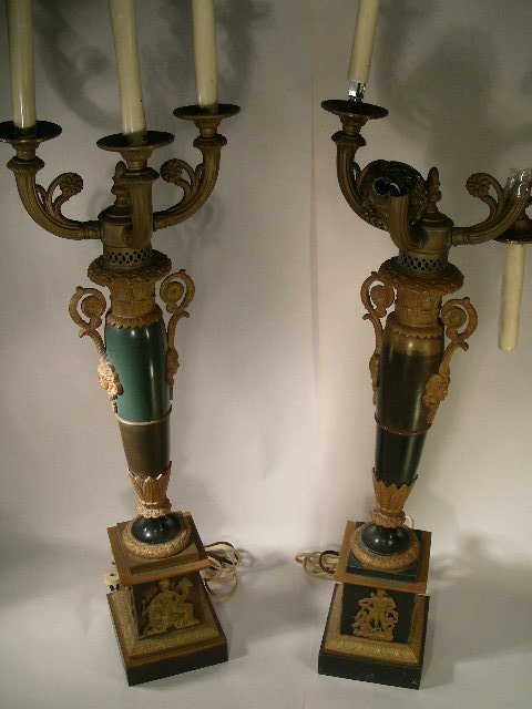 585: PR ANTIQUE BRONZE MOUNT CANDELABRA TABLE LAMPS