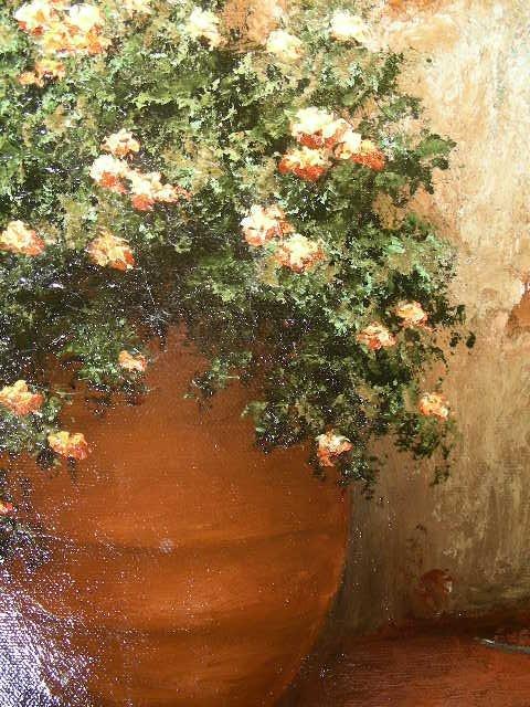 598: LG MAXIMO CORTINA OIL PAINTING ESPANA COURTYARD - 6