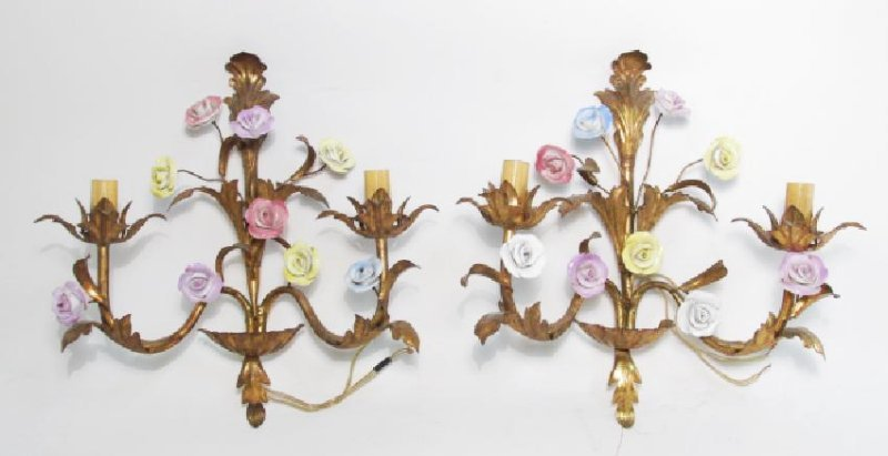 PAIR VINTAGE ITALIAN GILDED METAL FLORAL SCONCES