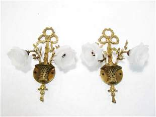PAIR ANTIQUE GILDED BRONZE & GLASS WALL SCONCES