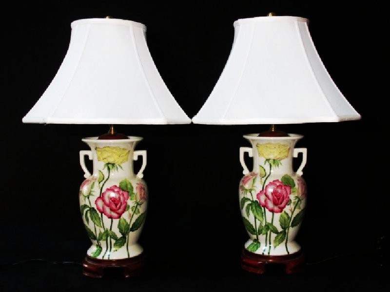 PAIR WILDWOOD PORCELAIN LAMPS