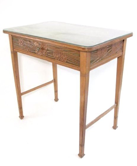 PETITE ART NOUVEAU CARVED WOOD DESK W/ GLASS TOP