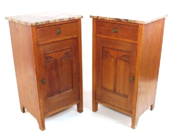 PAIR ART NOUVEAU CHERRYWOOD MARBLE TOP NIGHTSTANDS