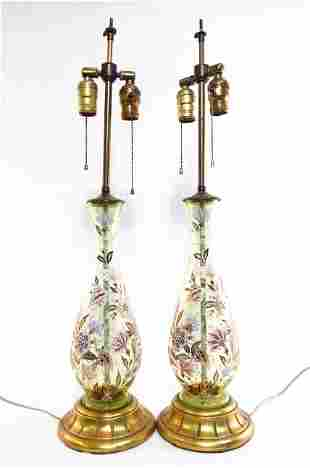 PAIR VINTAGE ENAMELED GLASS TABLE LAMPS