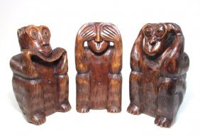 THREE CARVED WOOD MONKEYS SEE, SPEAK, HEAR NO EVIL