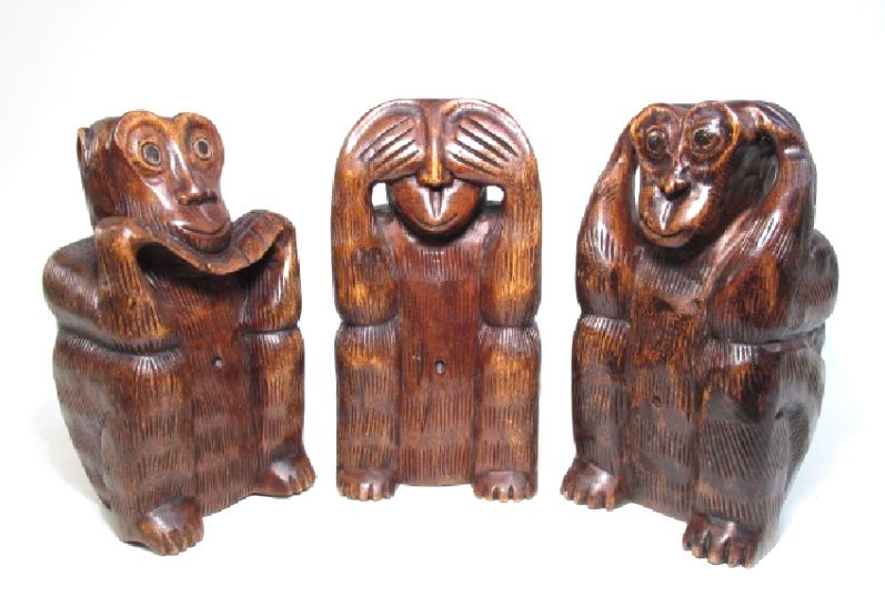 THREE CARVED WOOD MONKEYS SEE, SPEAK, HEAR NO EVIL