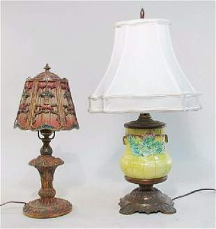 TWO VICTORIAN LAMPS: MAJOLICA, CAST METAL