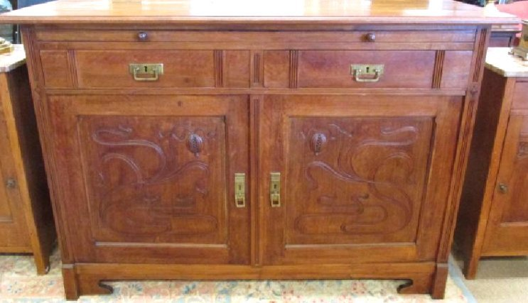 LARGE ART NOUVEAU CARVED WOOD SIDEBOARD CABINET