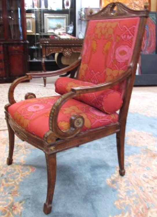 NEOCLASSICAL STYLE PARCEL GILT ARMCHAIR
