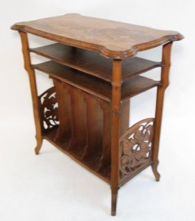 EMILE GALLE MARQUETRY INLAID MUSIC STAND SIDE TABL