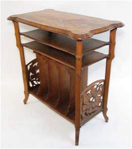 EMILE GALLE MARQUETRY INLAID MUSIC STAND SIDE TABLE