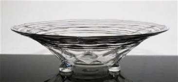 STEUBEN BLACK THREADED GLASS FOOTED BOWL