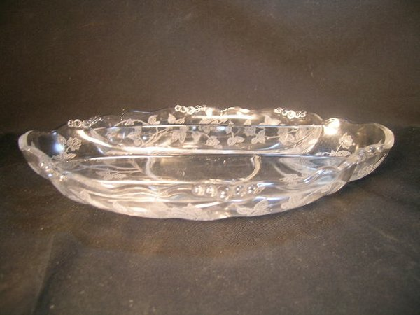 2: HEISEY DIVIDED GLASS FLORAL DESIGN SERVING DISH