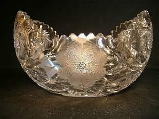 CUT GLASS FLORAL DESIGN BOWL