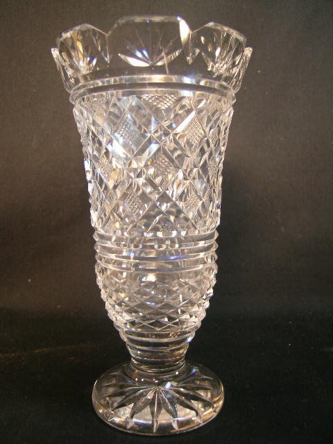 8: WATERFORD CUT CRYSTAL GLASS VASE