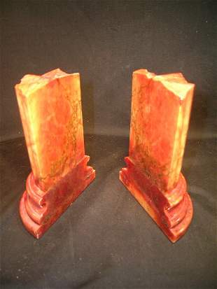 PAIR AMBER MARBLE COLUMN BOOK ENDS