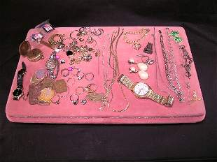 VINTAGE COSTUME JEWELRY WATCHES RINGS ETC