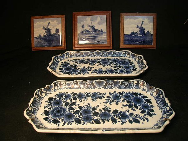 18: GRP DELFT SMALL TRAYS AND TILES