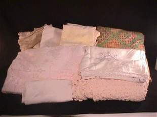 LARGE GROUP ASSORTED LINENS AFGHAN ETC