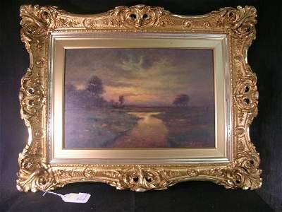 204: OIL CANVAS PAINTING LANDSCAPE G F KAY MAINE ARTIST