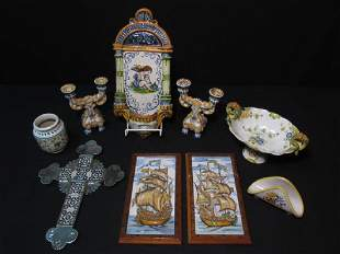 GROUP OF ASSORTED CONTINENTAL FAIENCE POTTERY WARE